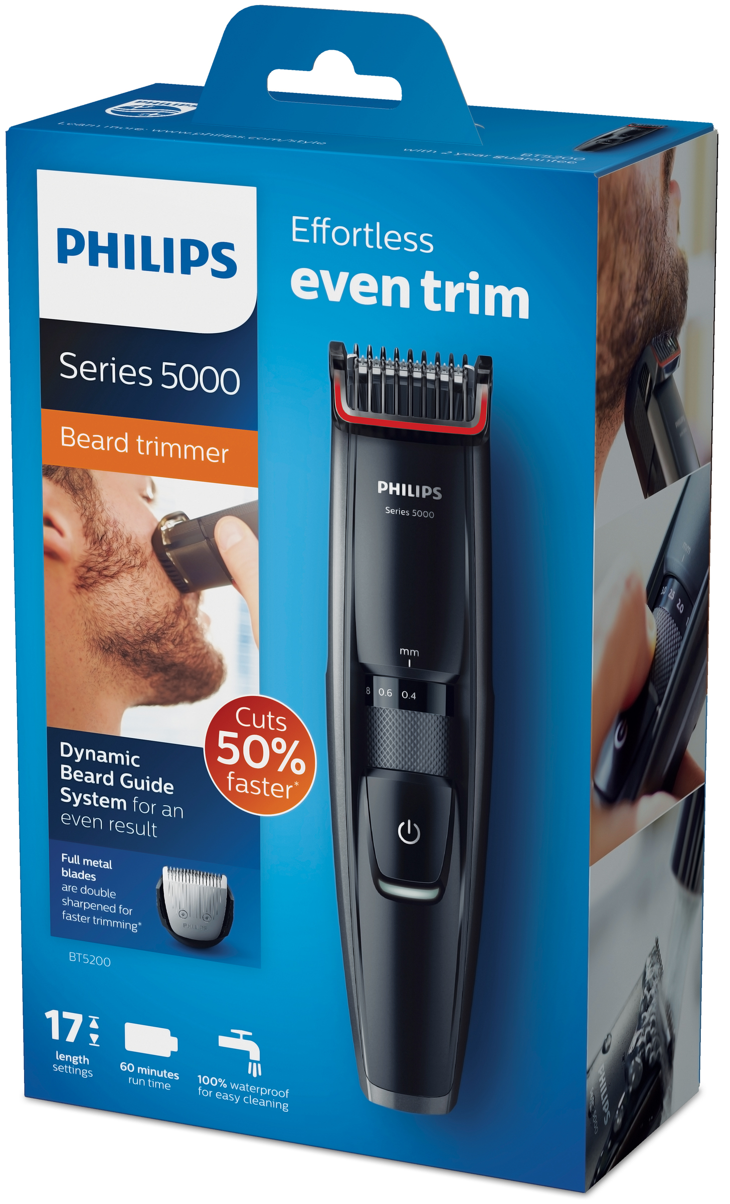 philips beardtrimmer series 5000 stubble trimmer precision cordless bt5200 13 ebay. Black Bedroom Furniture Sets. Home Design Ideas